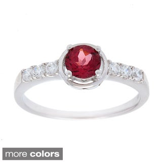 Oravo Sterling Silver Round-cut Gemstone and Cubic Zirconia Ring