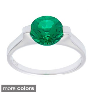 Oravo Sterling Silver Round-cut Gemstone Ring