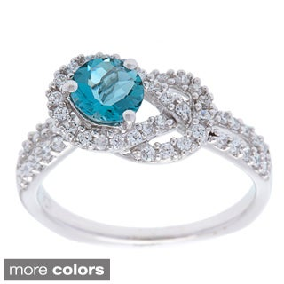 Oravo Sterling Silver Round Prong-set Gemstone and Cubic Zirconia Ring