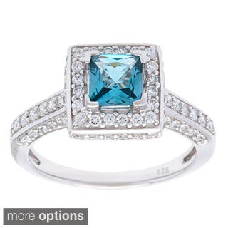 Oravo Sterling Silver Princess-cut Gemstone and Cubic Zirconia Halo Ring