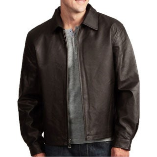 Men's Brown Leather Jacket with Zip-out Liner