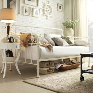 Giselle Antique White Graceful Lines Iron Metal Daybed