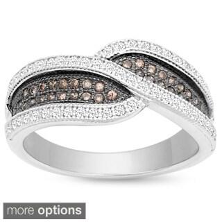 La Preciosa Two-tone Sterling Silver White/ Brown Micro Pave Cubic Zirconia Ring
