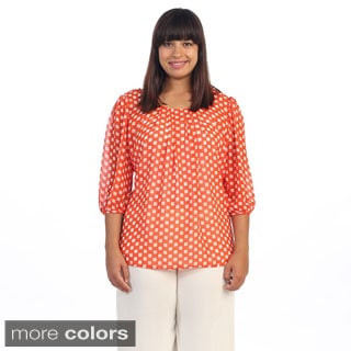 Hadari Women's Plus Red Daisy Scoop Neck Blouse