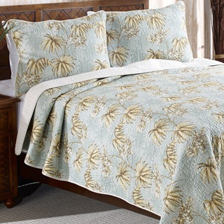 Tommy Bahama Newport Aqua Reversible Cotton 3-piece Quilt Set