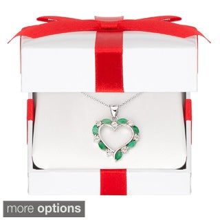 Dolce Giavonna Sterling Silver Gemstone Heart Necklace in a Red Bow Gift Box