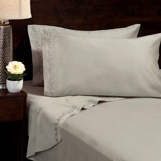 Egyptian Cotton 600 Thread Count Greek Embroidered Deep Pocket Sheet Set