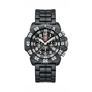 Luminox Men's A.3082 'Colormark' Black/White Dial Black Polycarbonate Bracelet Chronograph Watch