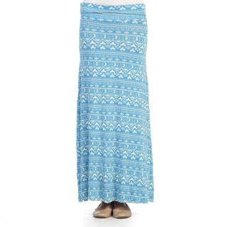 Hadari Women's Blue Tribal Print Fold-over Maxi Skirt