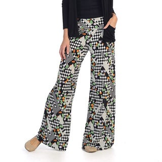 Hadari Women's Black Checkered Palazzo Pants