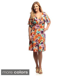 24/7 Comfort Apparel Women's Plus Size Multi-print Tie-Back Dress