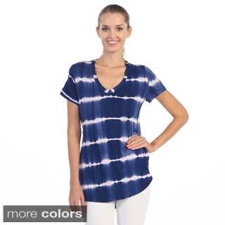 Hadari Women's Tie-dye High Low Cap Sleeve Tee