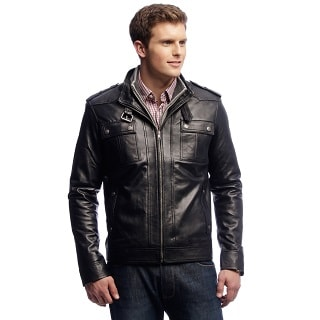 NDK New York Men's Black Lambskin Leather Jacket