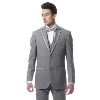 Ferrecci Mens Premium Slim Fit 3-piece Grey Tuxedo Suit