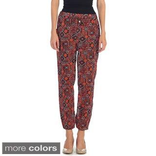 Hadari Women's Casual Elastic Side Pocket Aztec Pants