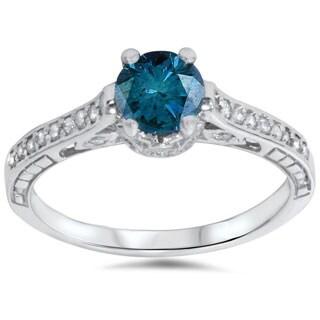 Bliss 14k White Gold 1 1/4ct TDW Blue Diamond Vintage-style Engagement Ring (G-H, I1-I
