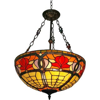 Amora Lighting Tiffany Style Floral 18-inch Hanging Lamp