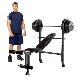 Marcy Diamond Midwidth Bench with 100-pound Weight Set