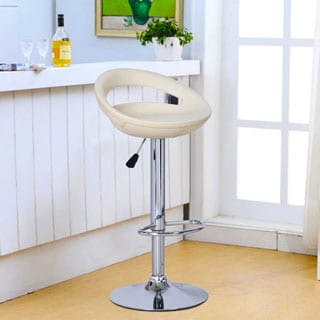 Adeco Cream Round Hydraulic Lift Adjustable, Half Back Barstool w/ PVC Covering and Chrome Pedestal Base (Set of 2)