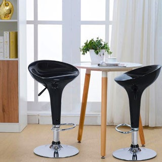 Adeco Black Form Fitted Adjustable Barstool Chairs (Set of 2)