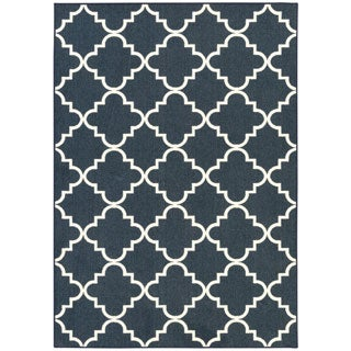Fancy Trellis Navy Rug (5' x 7')