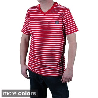MO7 Men's Slim Fit Striped V-neck Pocket Tee