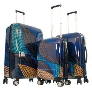 GABBIANO Peacock Navy Polycarbonate 3-piece Expandable Hardside Luggage Set