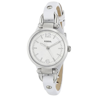 Fossil Women's Georgia ES3267 White Leather Analog Quartz Watch with Silvertone Dial