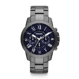 Fossil Men's Grant FS4831 Grey Stainless-Steel Quartz Watch with Black Dial