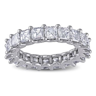 Miadora 18k White Gold 4ct TDW Certified Asscher Cut Diamond Eternity Ring (F-G, VS2-SI1)