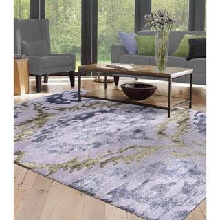 Sullivan Purple Wool and Art Silk Abstract Area Rug (10' x 13')