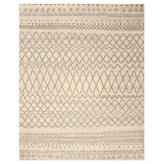 EORC SHT23IV Ivory Hand Knotted Wool Moroccan Rug (8' x 10')