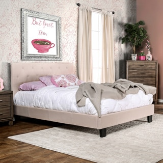 Furniture of America Perdella Padded Fabric Low Profile Platform Bed