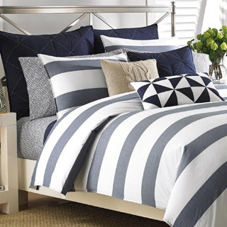 Nautica Lawndale Navy Cotton Duvet Cover Set with Euro Sham Seperates