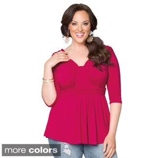 Kiyonna Women's Plus Size Gracefully Gathered Top