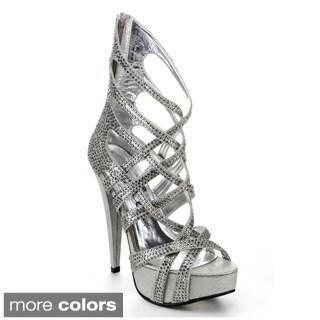 Ellie Women's '532-Julia' Rhinestone Metallic Ankle Heels