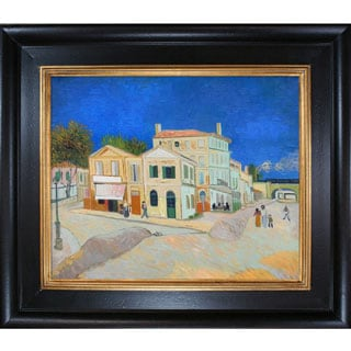 Vincent Van Gogh 'Vincent's House in Arles (The Yellow House)' Hand-painted Framed Canvas Art