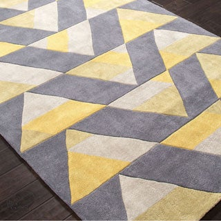 Hand Tufted Geometric Pattern Gold/ Grey Polyester Area Rug (3'6 x 5'6)