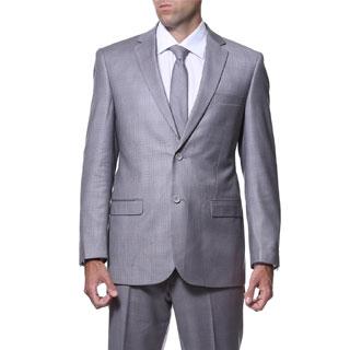 Ferrecci Men's 'Lincoln' Slim Fit Grey Plaid Tone on Tone 2-piece Suit