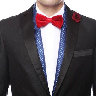 Ferrecci Men's Luxury Royal Blue Satine Polka-dot Formal Evening Scarf