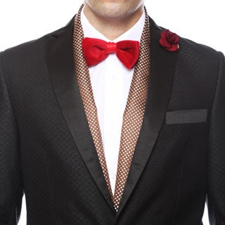 Ferrecci Men's Luxury Brown Satine Polka-dot Formal Evening Scarf