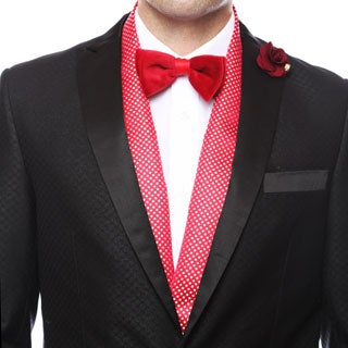 Ferrecci Men's Red and Silver Polka Dotted Evening Scarf