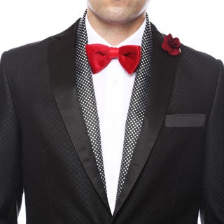 Ferrecci Men's Luxury Black / Silver Satine Polka-dot Formal Evening Scarf