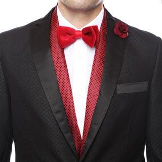 Ferrecci Men's Luxury Burgandy Satine Polka-dot Formal Evening Scarf