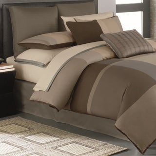 Century Taupe Colorblock 4-piece Comforter Set