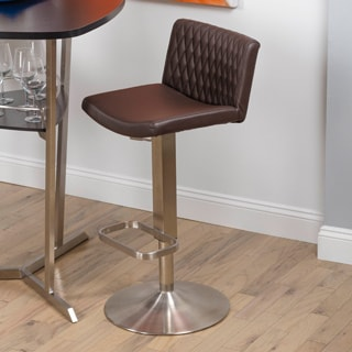 Gorge Diamond Patterned Back Brushed Stainless Steel Adjustable Height Swivel Stool