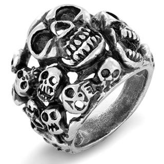 Crucible Antiqued Brass Cluster Skull Ring - 27mm Wide