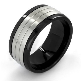 Crucible Two Tone Dual Finish Stainless Steel Grooved Comfort Fit Ring - 10mm Wide