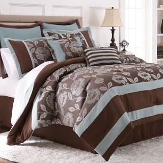 Adara 8-piece Floral Jacquard Comforter Set