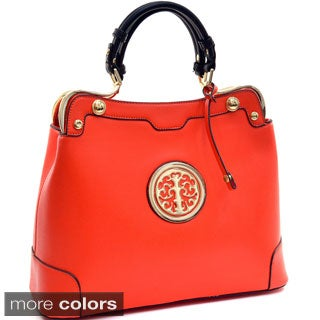 Goldtone Emblem Flat-bottom Bag
